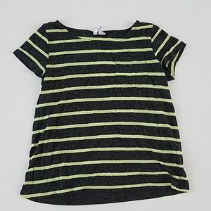 H&M Lime and Dark Gray Striped Shirt